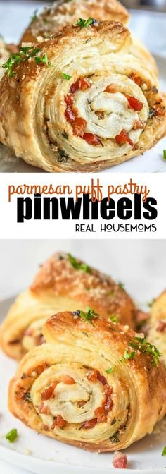 These Parmesan Puff Pastry Pinwheels are an easy appetizer recipe filled with Parmesan, pancetta, and parsley! via @realhousemoms