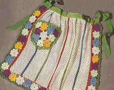 1950 Dish Cloth Floral Apron Vintage Crochet Pattern PDF 242