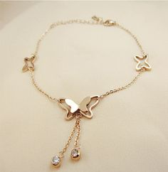 Shop Elegant Butterfly Bracelet/Ankle Chain on sale at Tidestore with trendy design and good price. Come and find more fashion Bracelet here. Gold Jewelry Simple, Stylish Jewelry, Cute Jewelry, Fashion Bracelets, Jewelry Bracelets, Fashion Jewelry, Women Jewelry, Diamond Bracelets, Ankle Bracelets