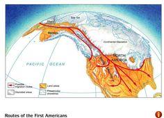 Map: Beringia Land Bridge. Native Americans. Start of Exploration.