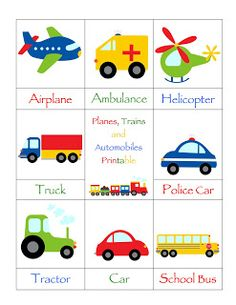 Preschool Printables: Trains, Planes and Automobiles Printable. This would be a great BINGO game