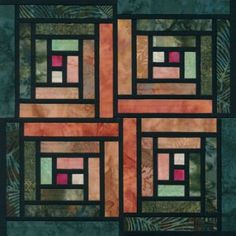 Stained Glass Log Cabin Quilt Block Pattern