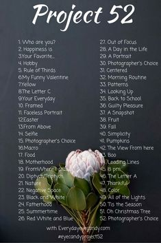 Alguna vez has pensado en hacer un proyecto de fotografía para mejorar su photogrtaphy?  Pruebe con un proyecto de 52!  Es la alternativa perfecta para un proyecto 265