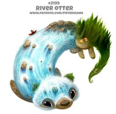 Daily Paint River Otter, Piper Thibodeau on ArtStation at www. Cute Food Drawings, Cute Animal Drawings Kawaii, Kawaii Drawings, Cute Creatures, Fantasy Creatures, Pretty Art, Cute Art, Desenhos Cartoon Network, Animal Puns