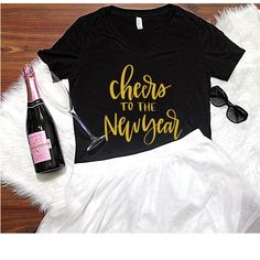 Cheers to the new year V-Neck T-Shirt, S-2XL, Women's Apparel, New Years Eve Top, Pop Fizz Clink, Drinking T-Shirt by ShopatBash on Etsy
