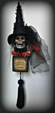 Halloween Skull Ornament, Skull on Wood Block, Vintage Looking Decoration