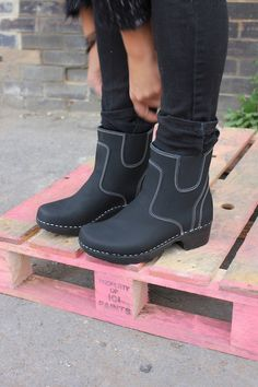Achingly cool Troentorp Lilly Soft Sole Clog Boots in Matt Black Leather with White Stitching.
