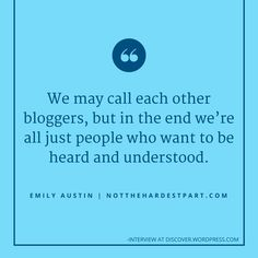 Parenting blogger Emily Austin at The Waiting builds meaningful connections with her readers: https://discover.wordpress.com/2016/02/04/emily-austin/