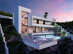 Villa for sale in Javea Sea View Modern Villa Modern Villa Design, Contemporary Design, Hillside House, Modern Mansion, Architect House, Home Design Plans, Cabana, Exterior Design, Modern Architecture