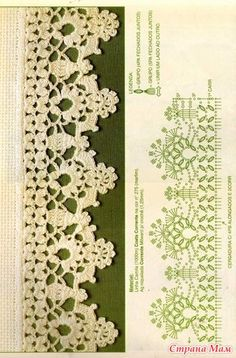 Trendy Crochet Lace Edging Pattern F Crochetlace - Diy Crafts - maallure Crochet Lace Collar, Crochet Lace Edging, Thread Crochet, Irish Crochet, Lace Knitting, Crochet Doilies, Crochet Flowers, Easy Crochet, Crochet Border Patterns