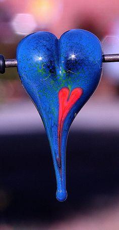 Rocketing Heart Handmade Lampworked Glass Bead