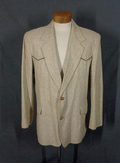 Vintage Men's Pioneer Wear Beige Rockabilly Blazer w/SIlk Trim - Size 46L - VLV #PioneerWear #TwoButton