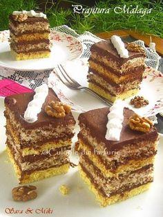 Prajitura Malaga este o prajitura cu bezea, nuca, ganache de ciocolata, deci un adevarat rasfat. Am vazut reteta pe un site-ul online de comenzi. Cum denumirea era asemanatoarea cu a Tortulu…