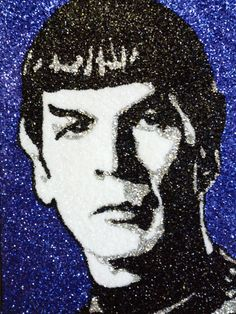 Spock glitter art 9x12 by TigerGalindo on Etsy, $35.00