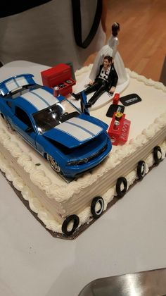 Wedding Cake Topper Checkered Flag Tires Auto Car Racing Fan Groom ...