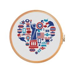 Sampler Heart USA - Cross stitch pattern - independence day Statue of Liberty Sheriff iPhone New York Los Angeles Chicago Houston Boston