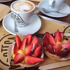 Good morning, have great day!  #coffee #pastery #strawberry