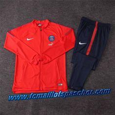 1b52eb11b914f survetement foot pas cher chine homme Nike - Veste Paris Saint-Germain  Rouge Ensemble 2018 2019 chine -02