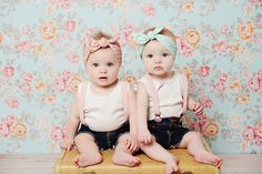 "Darling ""vintage"" baby girls! I love the head wraps and vintage looking backdrop. Salt Lake City Photographer{Lou Lou Photography}"