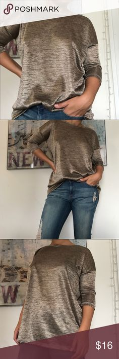 Metallic bronze sheer top Sassy going out top or worn casual. Sheer lightweight and 3/4 sleeve. Super stylish and in great condition! H&M Tops