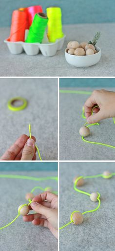 bead garland, great idea for DIY Christmas garland if you use clear coloured beeds