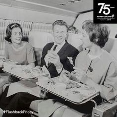 Air New Zealand Passengers delighting over the inflight meal, late 1950s…