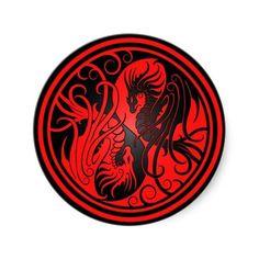 Shop Flying Yin Yang Dragons - red and black Classic Round Sticker created by JeffBartels. Tattoo Dragon And Phoenix, Small Dragon Tattoos, Dojo, Circular Tattoo, Yin Yang Designs, Dragon Silhouette, Amazing Nature Photos, Red Tattoos, Graffiti Wallpaper