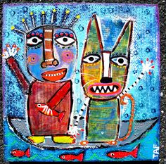 """""""Kitty & Me Adrift on The Sea"""" acrylic collage on wood by Tracey Ann Finley"""