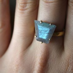 Labradorite Ring Set in Solid 14kt Gold & Sterling Silver by ATELIER Gaby Marcos