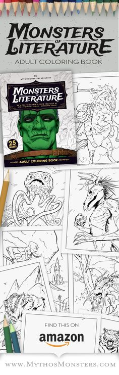 899 Monsters Of Literature Adult Coloring Book Horror An Inspired By