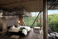 Unmatched sophistication awaits you at the tranquil sanctuary known as Singita Sweni Lodge in Kruger, South Africa. Discover this luxury safari lodge today. Parc National Kruger, Home Interior Design, Interior And Exterior, Stylish Interior, African Bedroom, Safari Bedroom, Hotel Bedroom Design, Bedroom Designs, Design Hotel