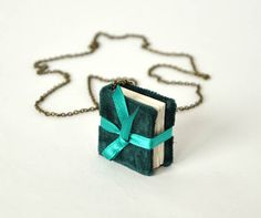 FREE SHIPPING mini book necklace book jewelry by papirell on Etsy