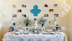 the dessert table for this angel themed baptism
