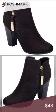NEWBlack Booties Super cute black faux suede booties!! Also available in Olive, Natural or Gray!! Shoes Ankle Boots & Booties
