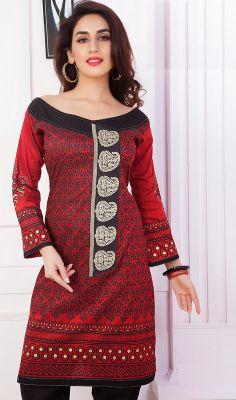 Maroon Embroidered Kora Silk Kurti #indian-kurtis #kurtas Price: British UK Pound £34, Euro43, Canada CA$64 , Indian Rs.3186