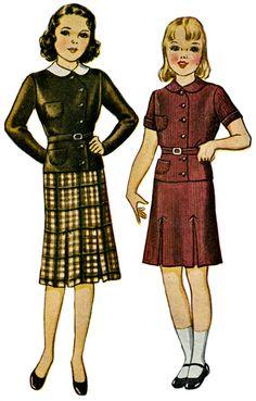 1920s Two-Piece School Frock Pattern  by ShellMakeYouFlip on Etsy