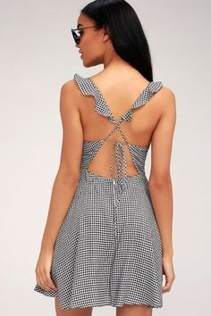 54132a6cb Alviso Black and White Gingham Backless Skater Dress. Vestidos De FibranaVestidos  De Playa CortosVestidos ...