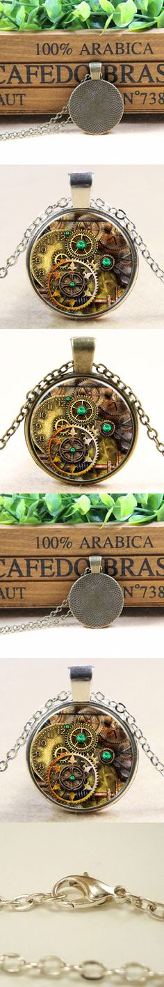 New Vintage Steampunk Heart Photo Glass Bronze Chain Pendant Necklace Hot Gift Styling Accessories