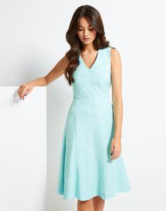 Uttam Boutique Textured V Neck Midi Dress