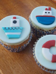 Sailing Boat Cupcakes with handmade fondant toppers
