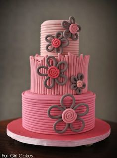 Interesting way to make fondant flowers (don't care for the overall look on the cake, though...)