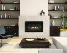 Interesting Direct Vent Fireplace For Your Family Room Decor Ideas: Modern Direct Vent Fireplace Design With Dark Lounge Chairs And White Shag Rug For Modern Family Room Design Tv Above Fireplace, Linear Fireplace, Ethanol Fireplace, Fireplace Built Ins, Home Fireplace, Fireplace Surrounds, Fireplace Mantels, Gas Fireplaces, Modern Fireplaces