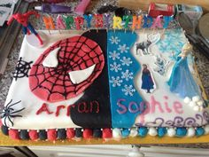 Not bad for a first attempt at decorating a half Spider-Man and half Frozen cake! Happy Birthday kids!