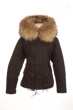 5300c0dcfead Black Parka Jacket with Natural Raccoon Fur Collar – Popski London