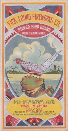 Silver Bird firecracker brick label by Mr Brick Label