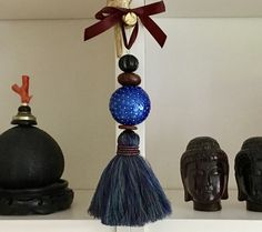 tassel, blue sequined ball