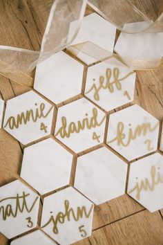 Honeycomb Inspired Marble and Gold Escort Cards | Emily Tebbetts Photography on @fabyoubliss via @aislesociety