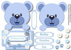 Over the Edge Lovely Blue Bear  on Craftsuprint designed by Ceredwyn Macrae - A lovely card to make and give with a lovely Over The Edge blue Bear a lovely card has four greeting tags and a blank one for you to choose the sentiment, - Now available for download!