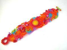 Boho bracelet Colorful bracelet Beadwork bracelet Beaded by ibics