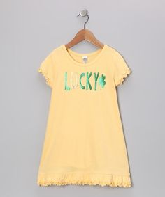 Look what I found on #zulily! Yellow 'Lucky' Dress - Infant, Toddler & Girls by Bourbon Street Boutique #zulilyfinds